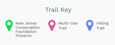 Trail Key describing three colored pindrops on map